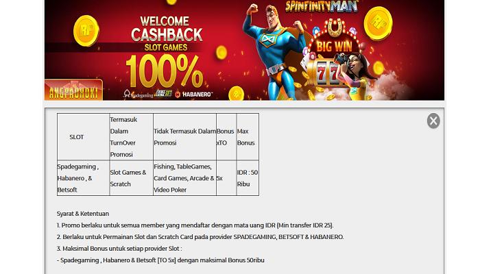Bonus Welcome Cashback 100 Slot Games Online Angpaohoki Indonesia
