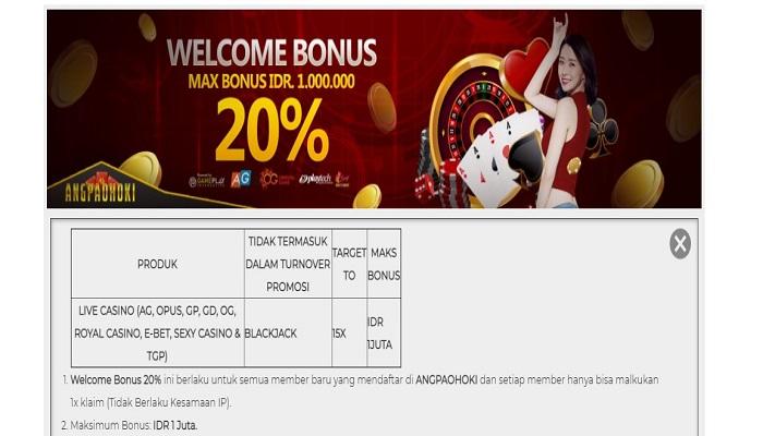 WELCOME BONUS 20% LIVE CASINO LANGSUNG DARI ANGPAOHOKI INDONESIA